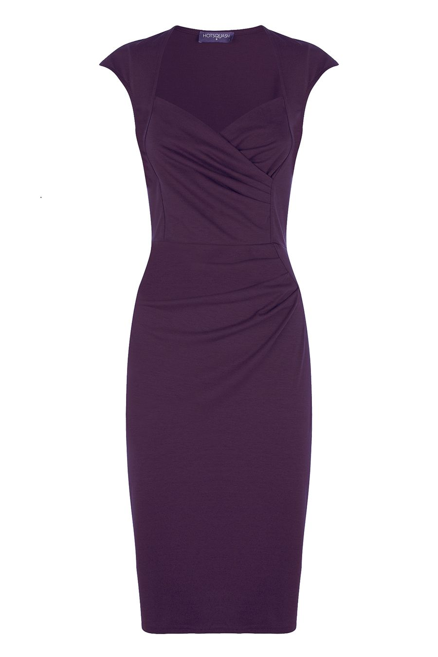 HotSquash Short sleeved dress in clever fabric, Damson