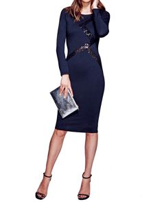 Long sleeved dress with contrast trim
