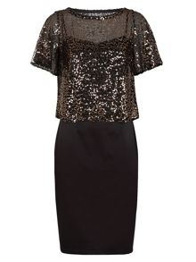 Spaghetti strap dress with sequin top
