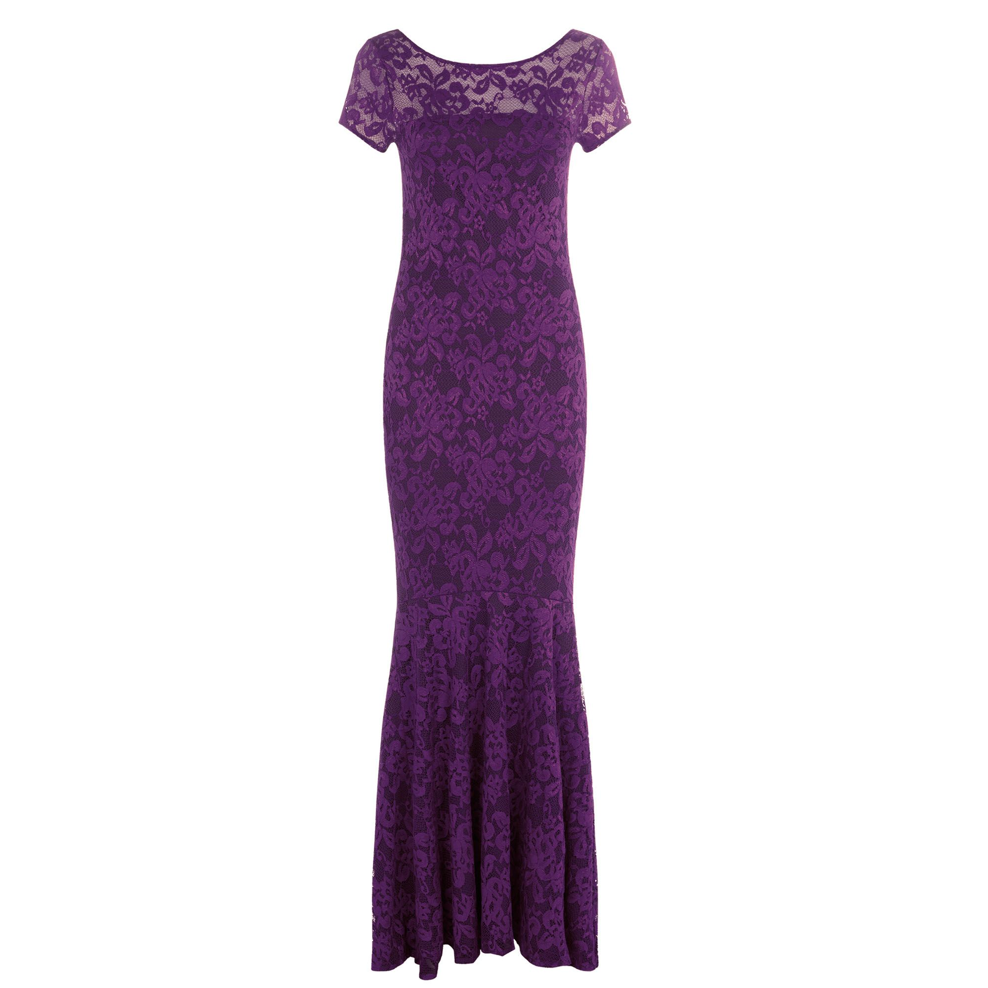 HotSquash Long lace dress with cap sleeve, Purple
