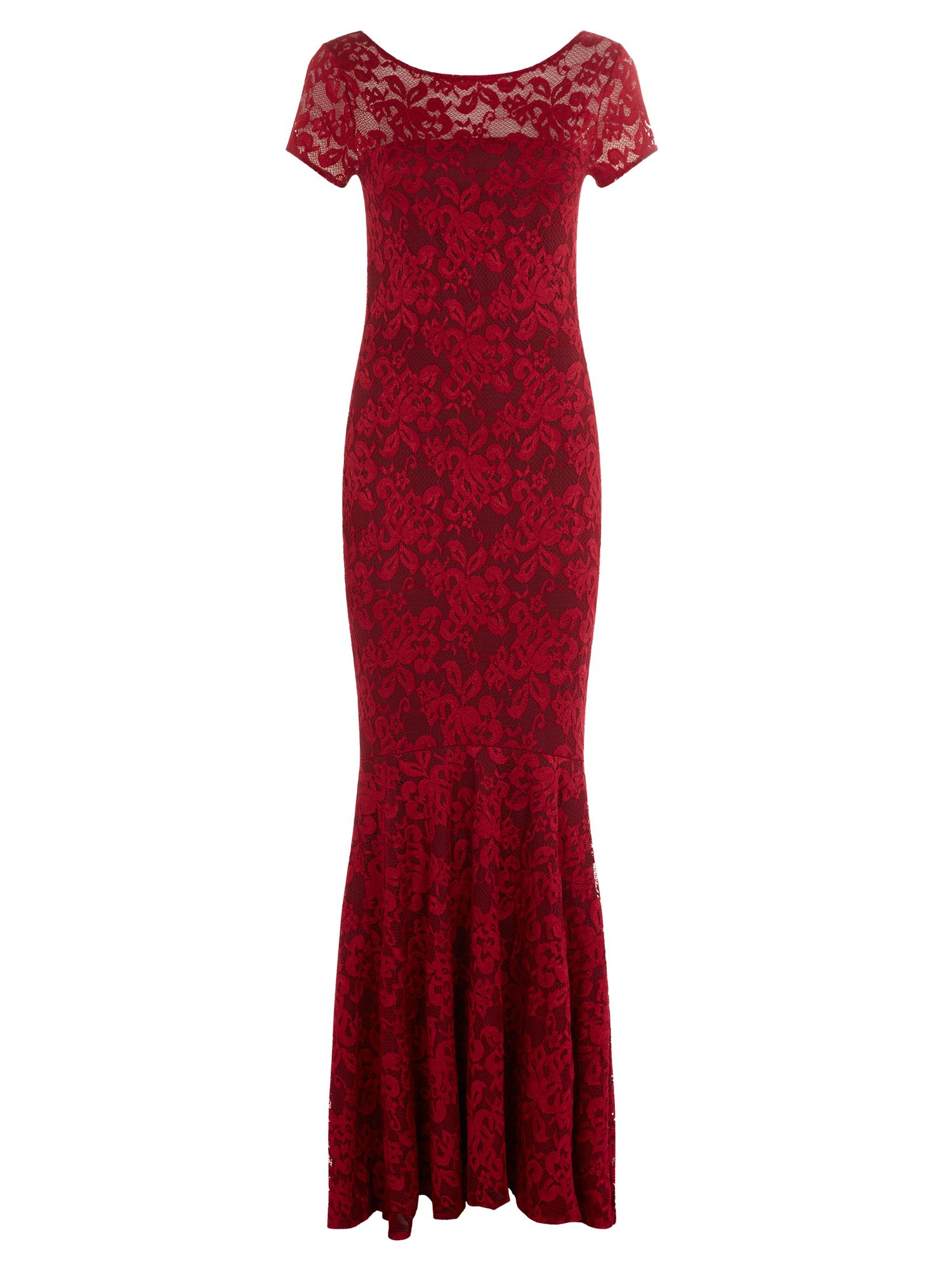 HotSquash Long lace dress with cap sleeve, Red