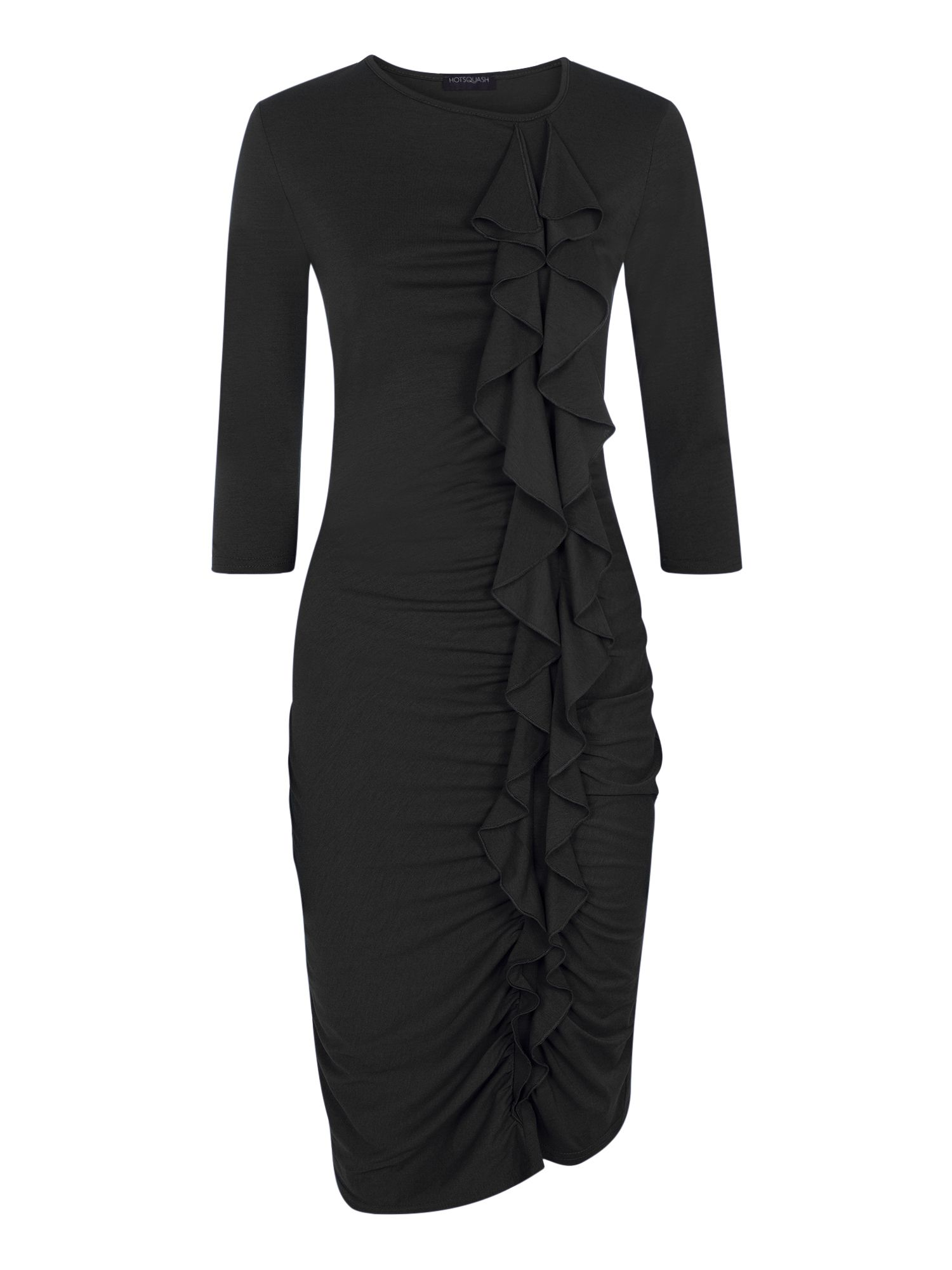 HotSquash Long sleeved dress with frill detail, Black