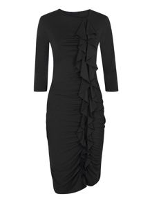 Long sleeved dress with frill detail