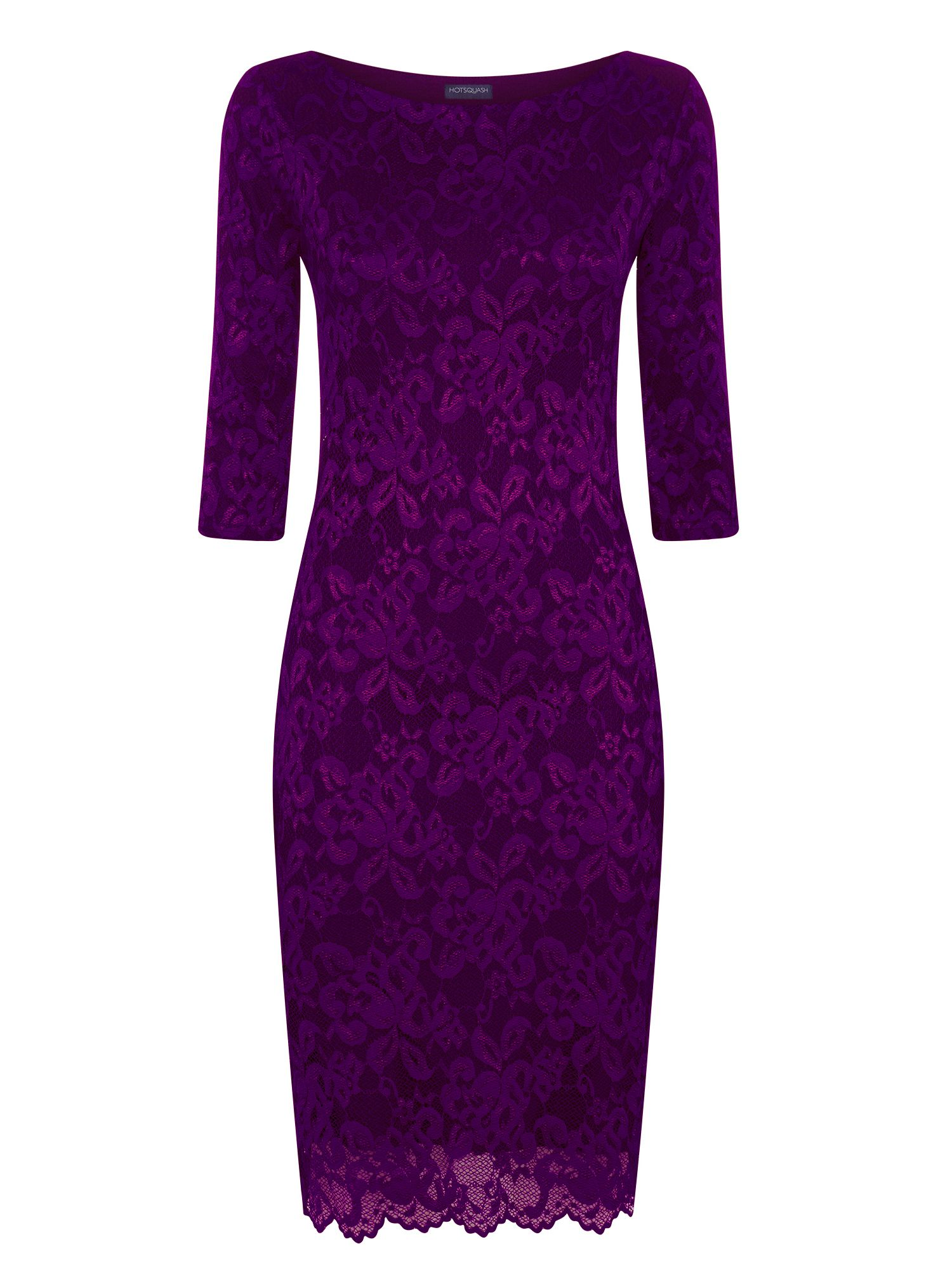 HotSquash Long Sleeved Lace Dress With Thinheat, Purple