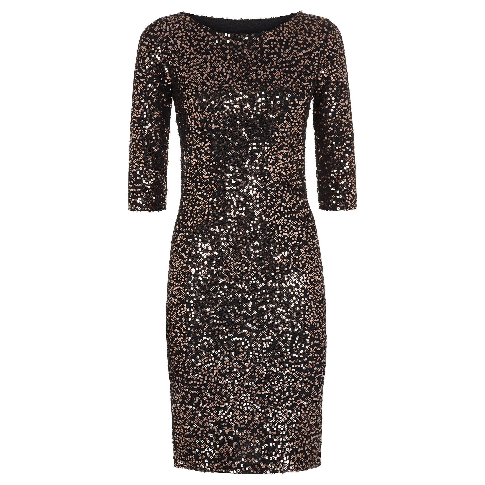 HotSquash Long Sleeved Dress With Sequin Trim, Gold
