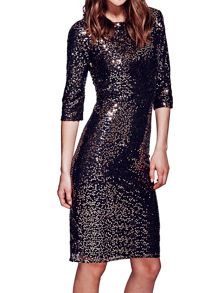 Long sleeved dress with sequin trim