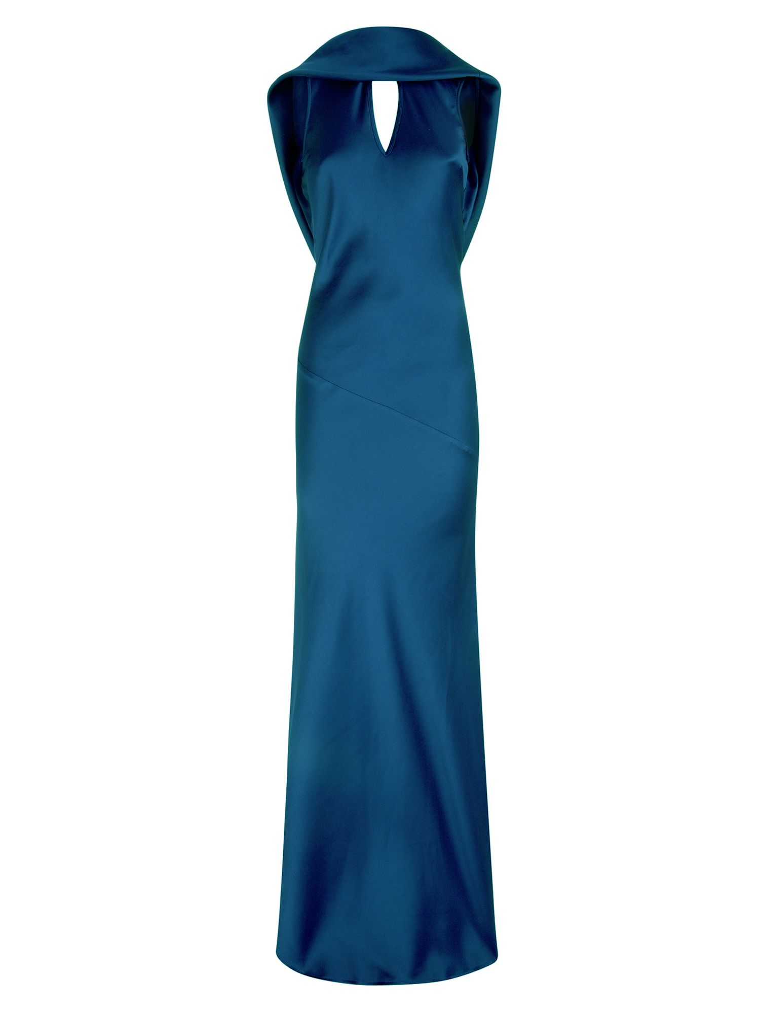 HotSquash Long dress with cowl back and front, Teal