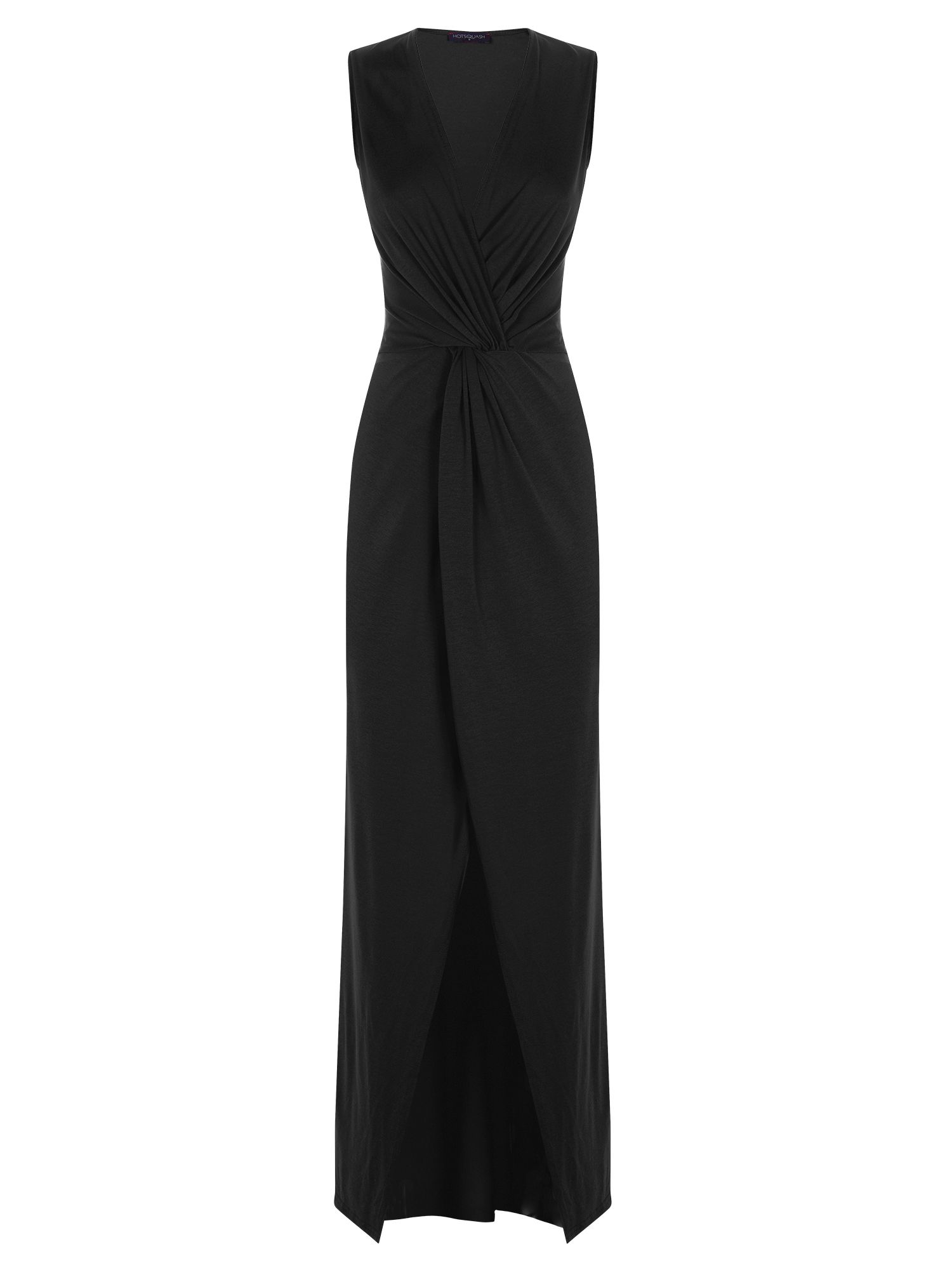HotSquash Long elegant maxi dress with knot detail, Black
