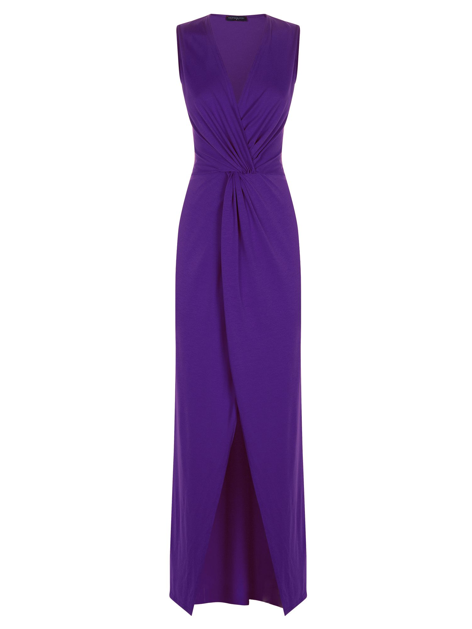 HotSquash Long elegant maxi dress with knot detail, Purple