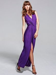 HotSquash Long elegant maxi dress with knot detail