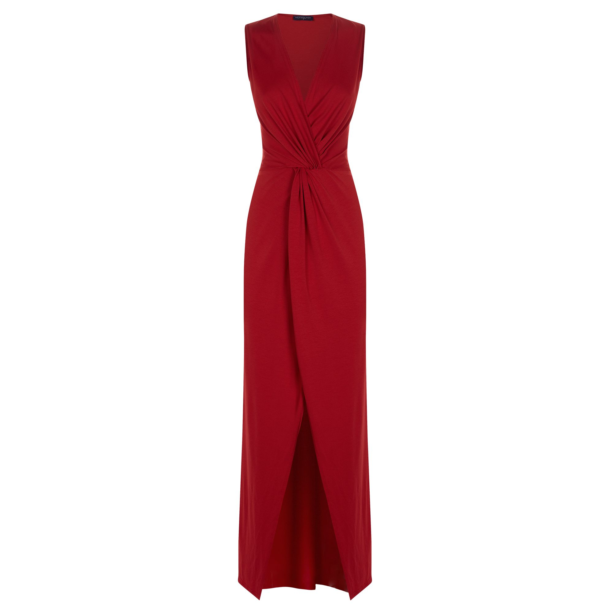 HotSquash Long elegant maxi dress with knot detail, Red