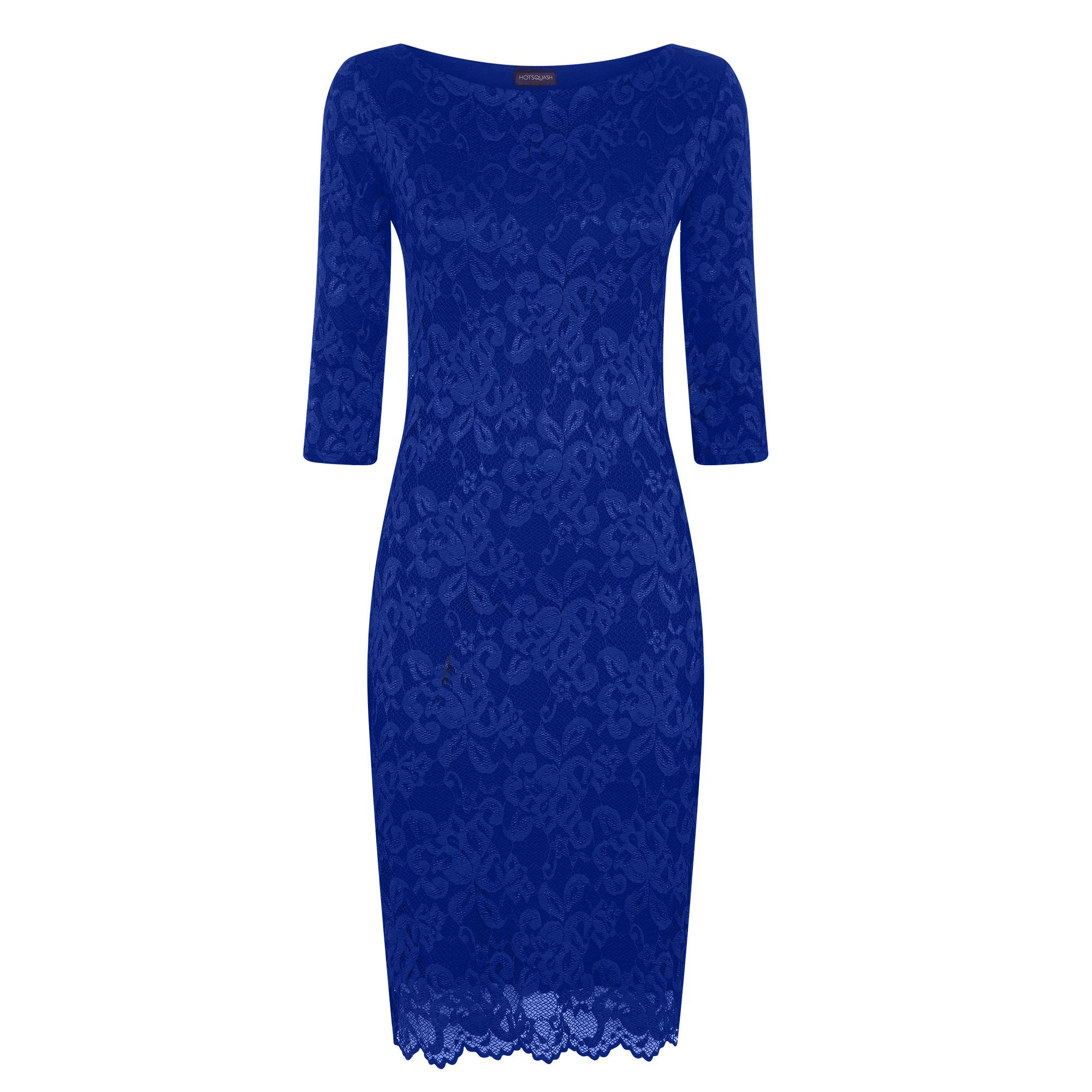 HotSquash Long Sleeved Lace Dress With Thinheat, Midnight Blue