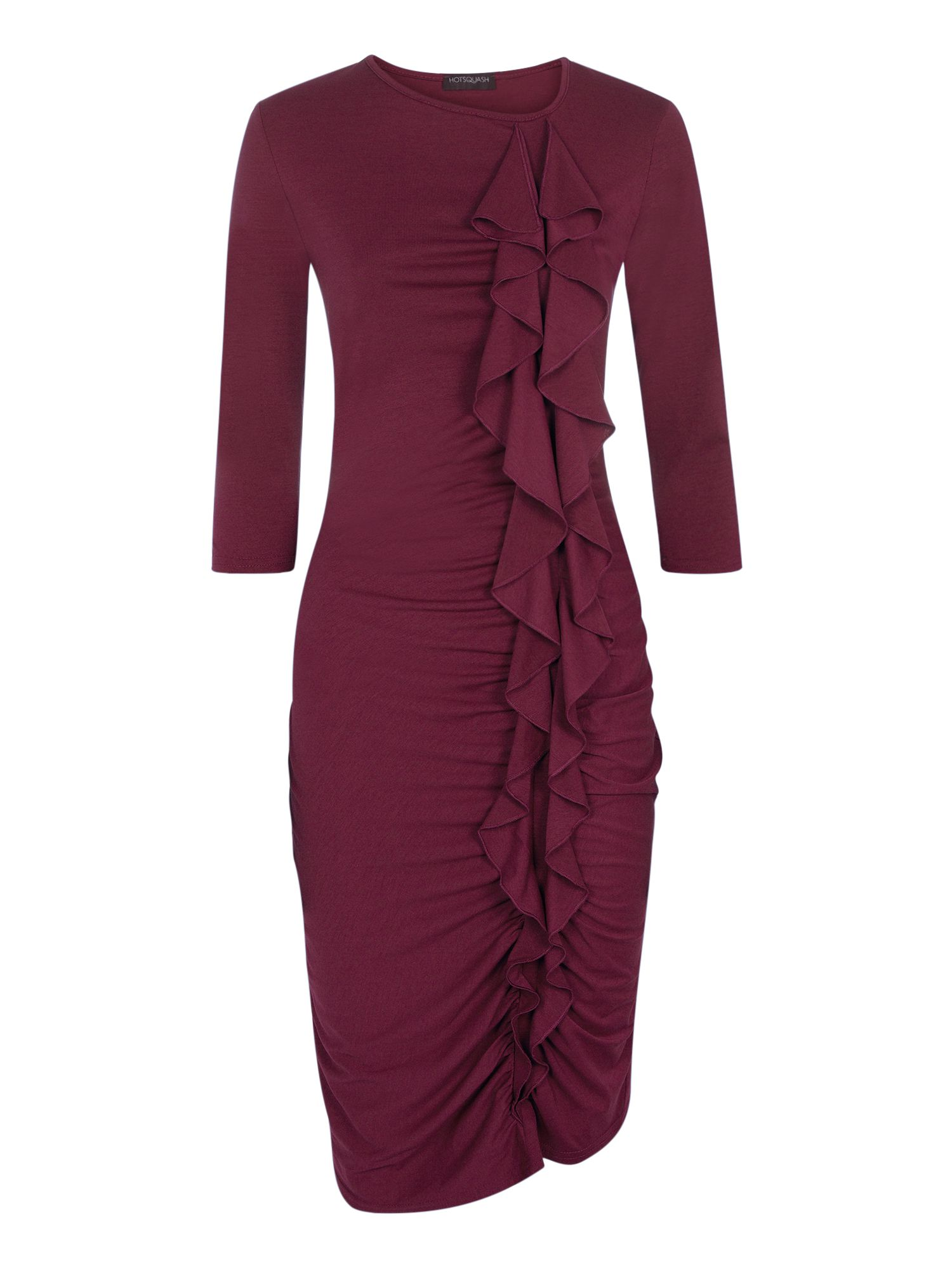 HotSquash Long sleeved dress with frill detail, Red