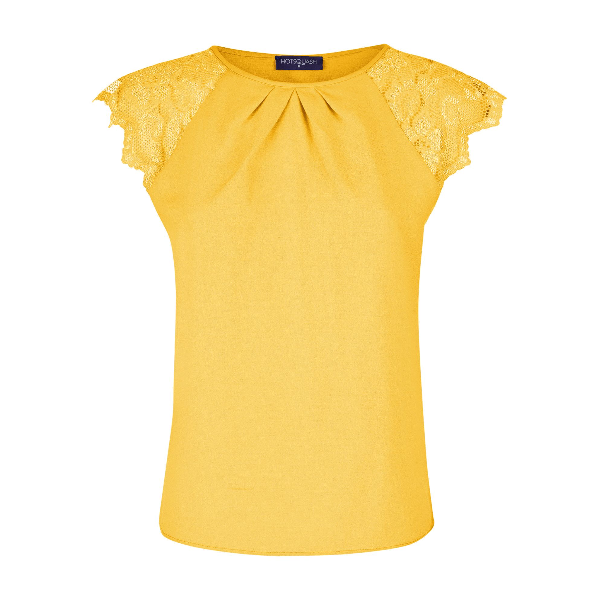 HotSquash Crepe top with lace sleeves, Yellow