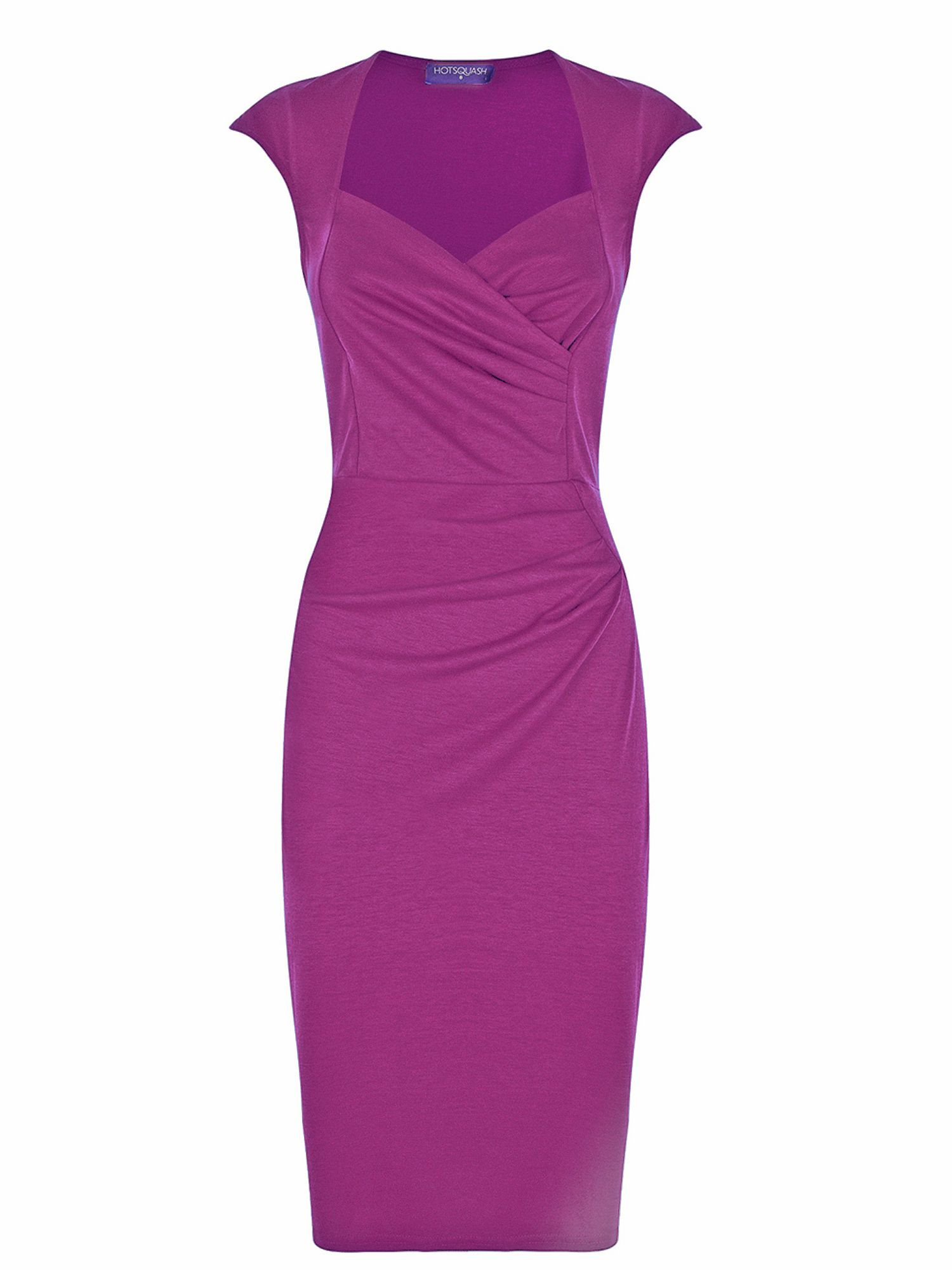 HotSquash Short sleeved dress in clever fabric, Fuchsia