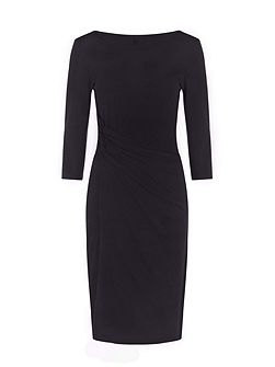 Boatneck thermal dress with side-ruching
