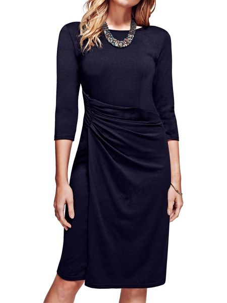 HotSquash Boatneck thermal dress with side-ruching