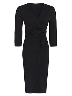 V neck Mock Wrap Thermal Dress
