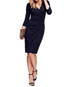 HotSquash V neck Mock Wrap Thermal Dress