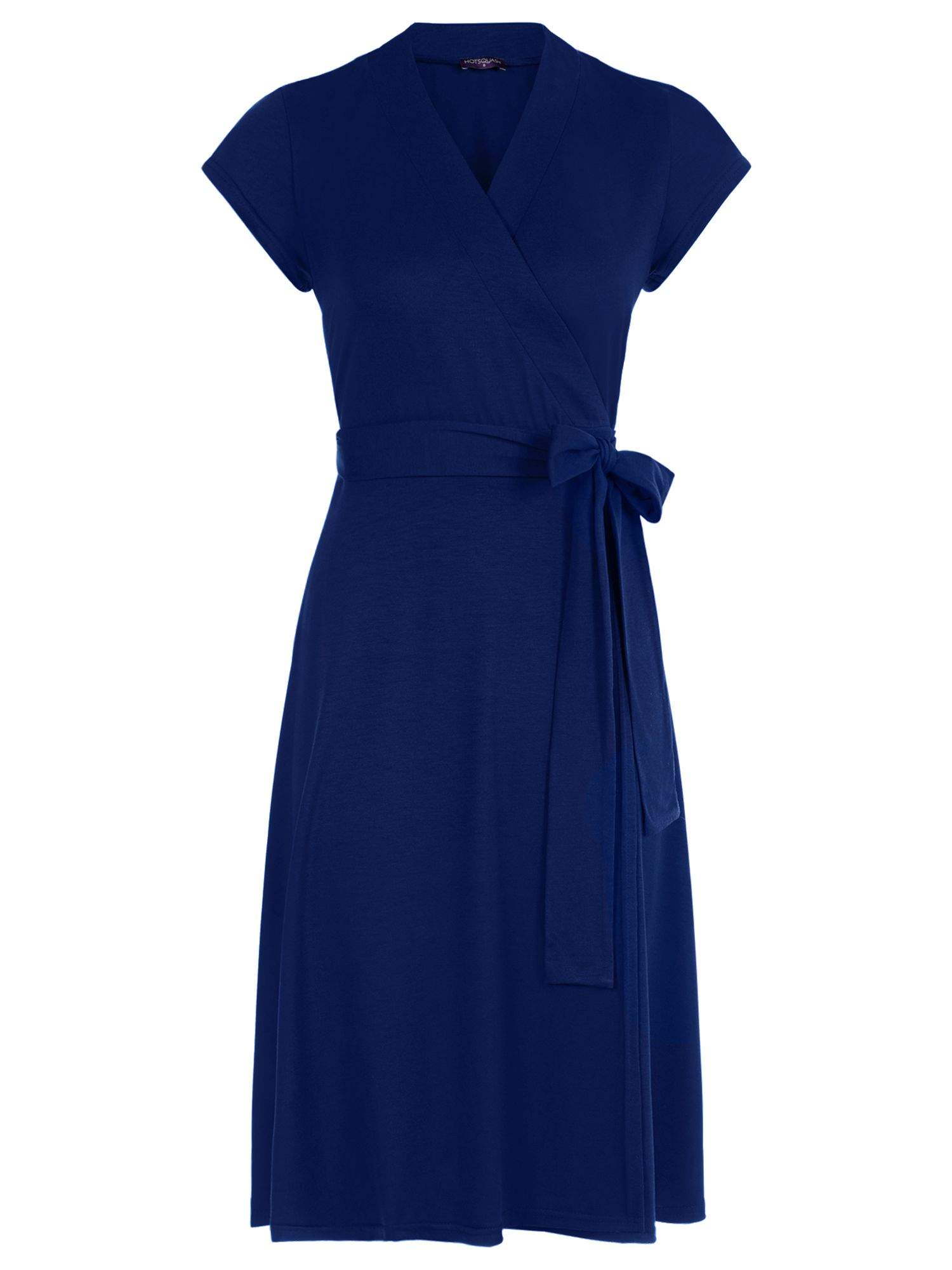 HotSquash Cap Sleeve Wrap Dress in unique fabric, Blue