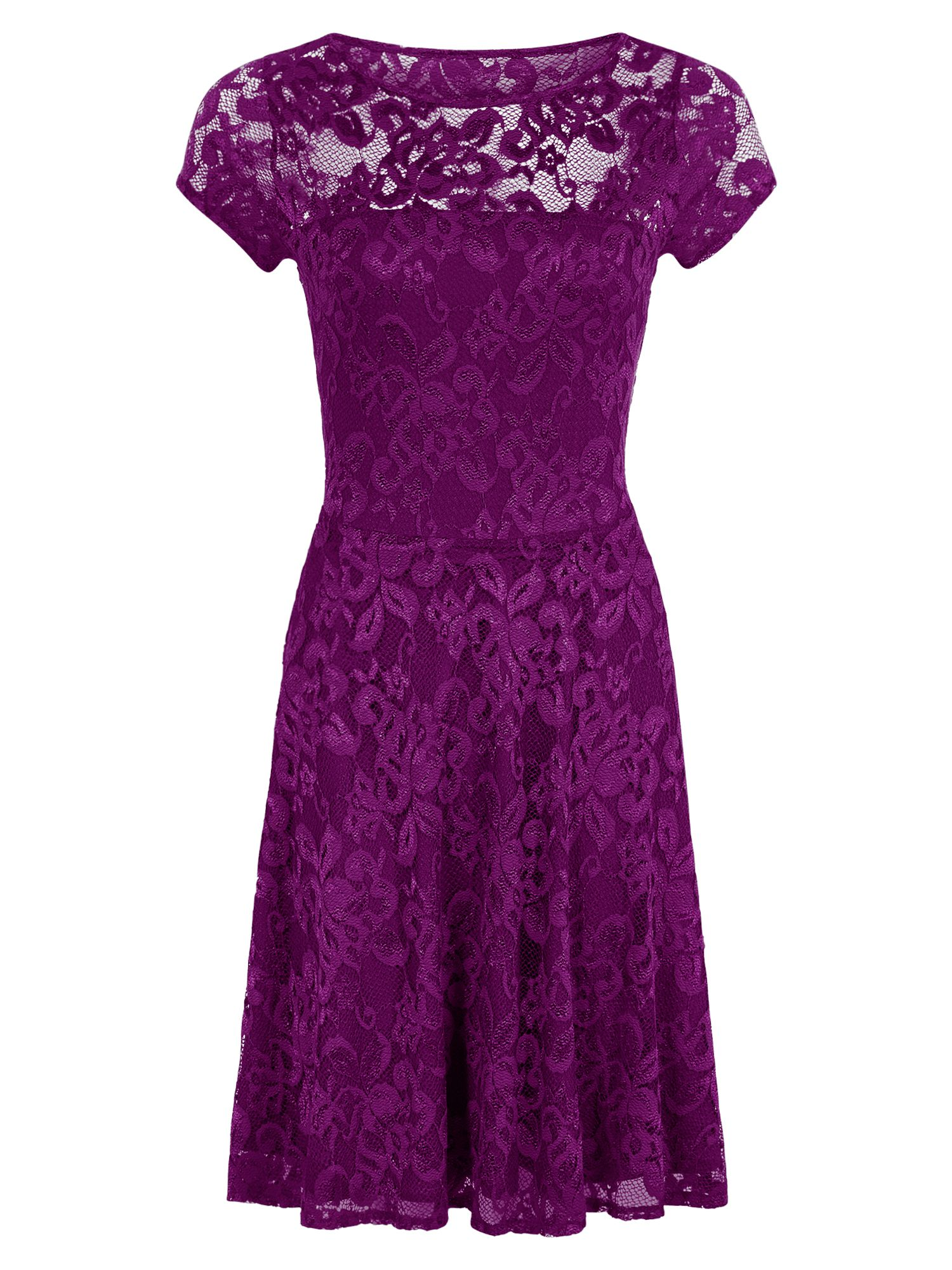 HotSquash Lace Fit n Flare Dress with Thermal Lini, Purple