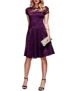 HotSquash Lace Fit n Flare Dress with Thermal Lini