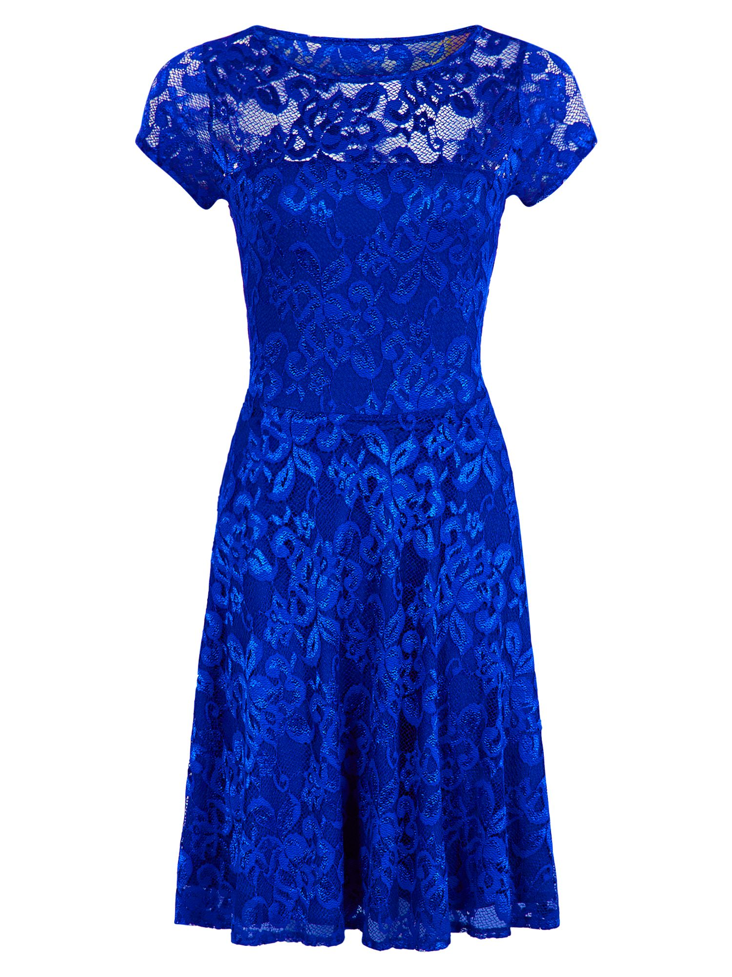 HotSquash Lace Fit n Flare Dress with Thermal Lini, Royal Blue