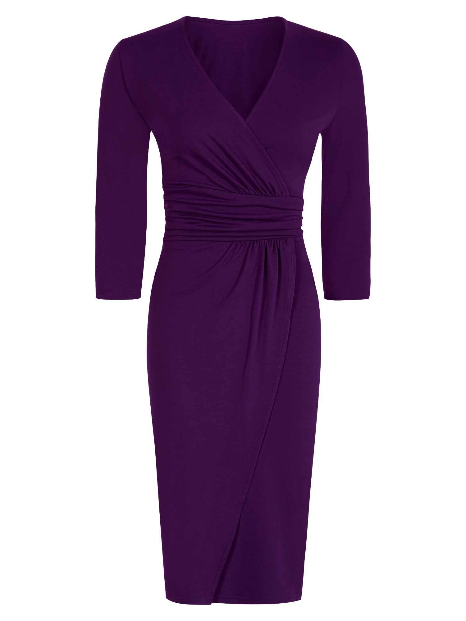 HotSquash V neck Mock Wrap Thermal Dress, Damson