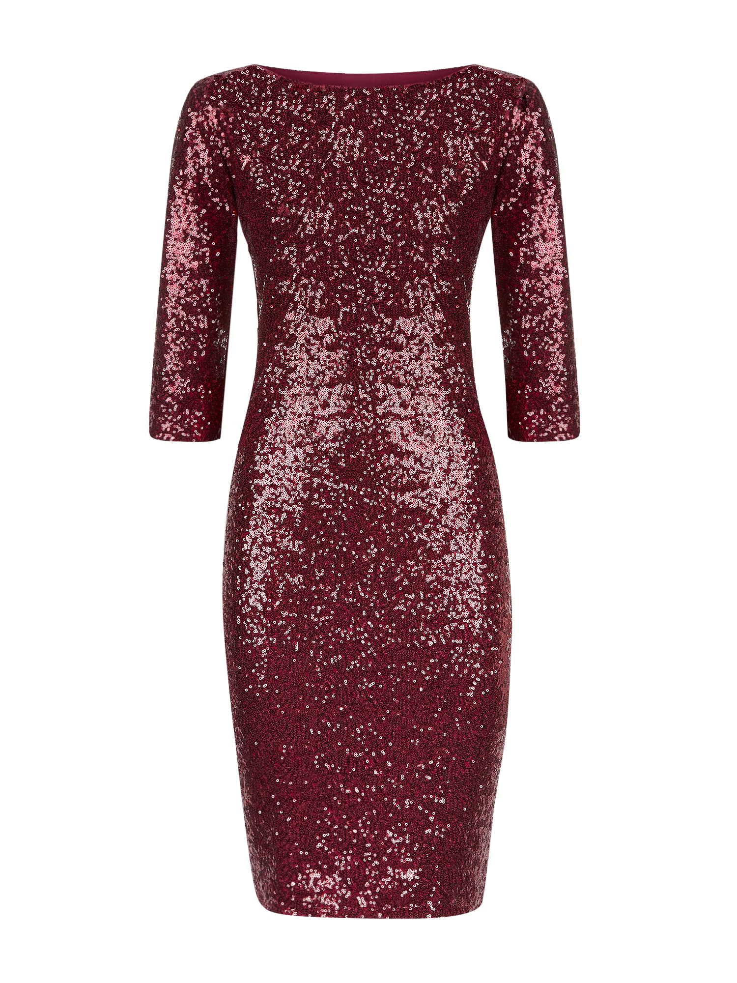 HotSquash Long Sleeved Dress With Sequin Trim, Wine
