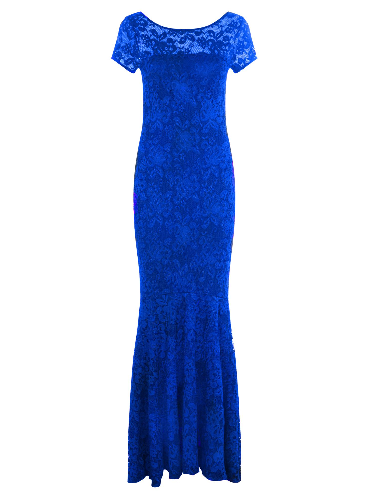 HotSquash Long lace dress with cap sleeve, Royal Blue