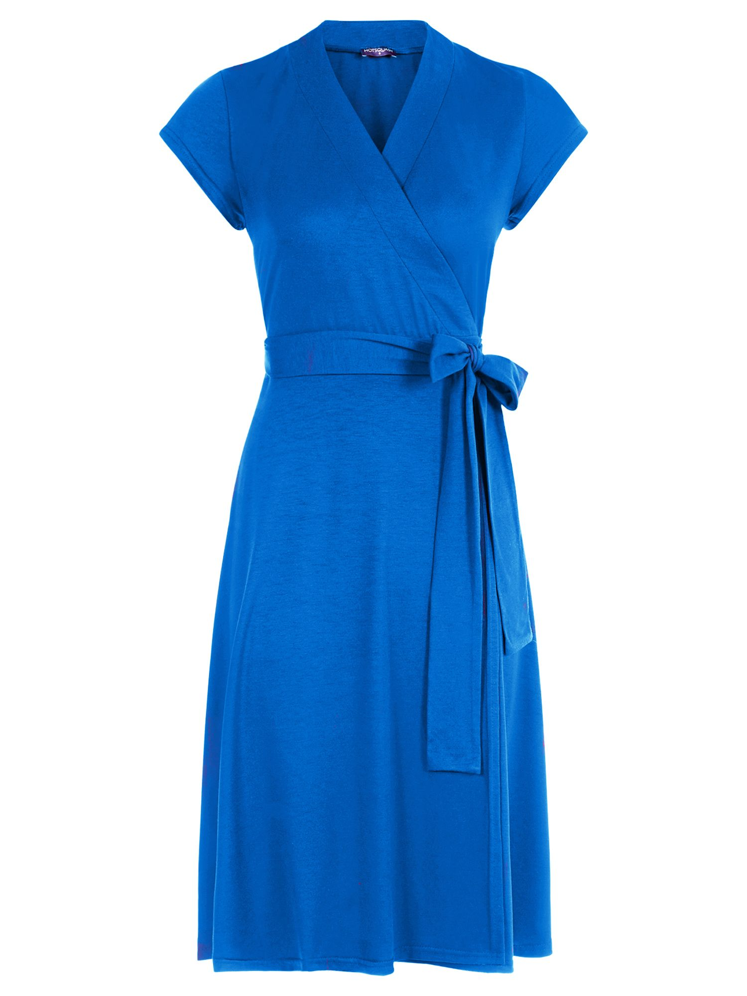 HotSquash Cap Sleeve Wrap Dress in unique fabric, Cobalt
