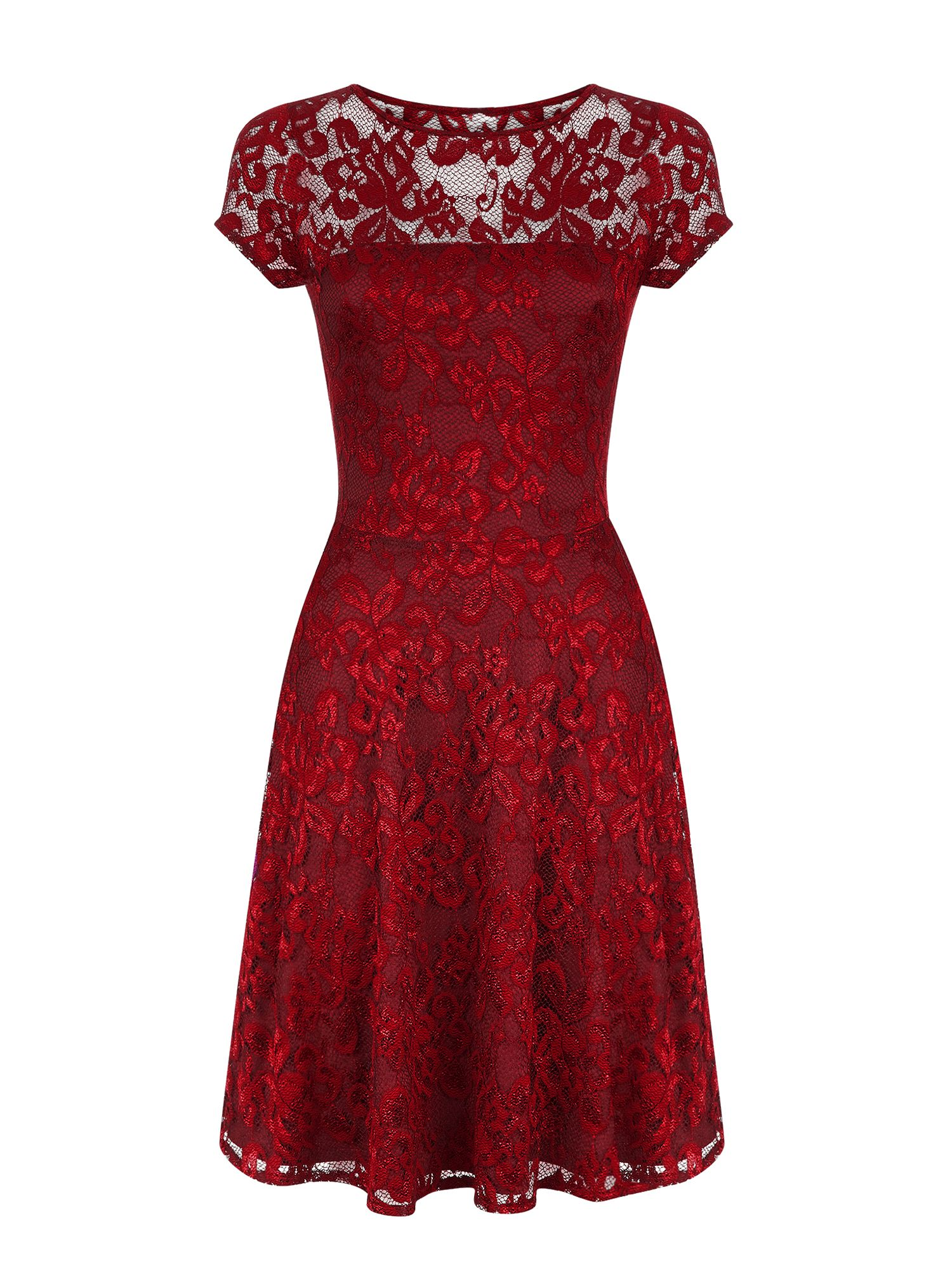 HotSquash Lace Fit n Flare Dress with Thermal Lini, Red