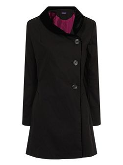 Black Velvet Trim Rain Resistant Coat