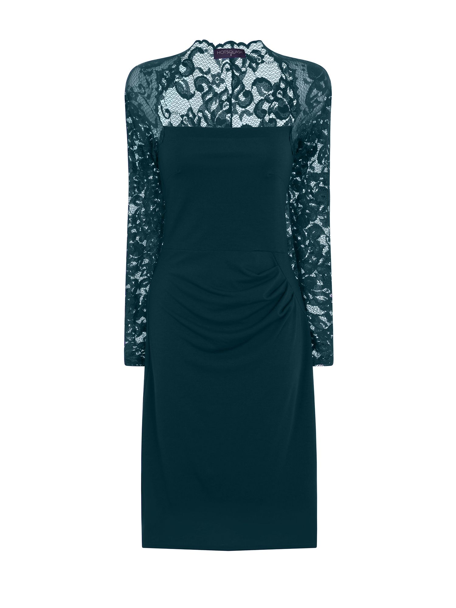 HotSquash Lace Sleeved Dress In Clever Fabric, Emerald