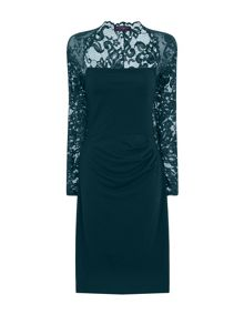 HotSquash Lace Sleeved Dress In Clever Fabric