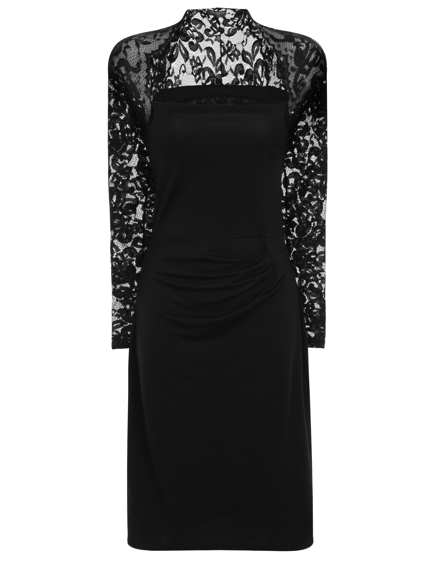 HotSquash Lace Sleeved Dress In Clever Fabric, Black