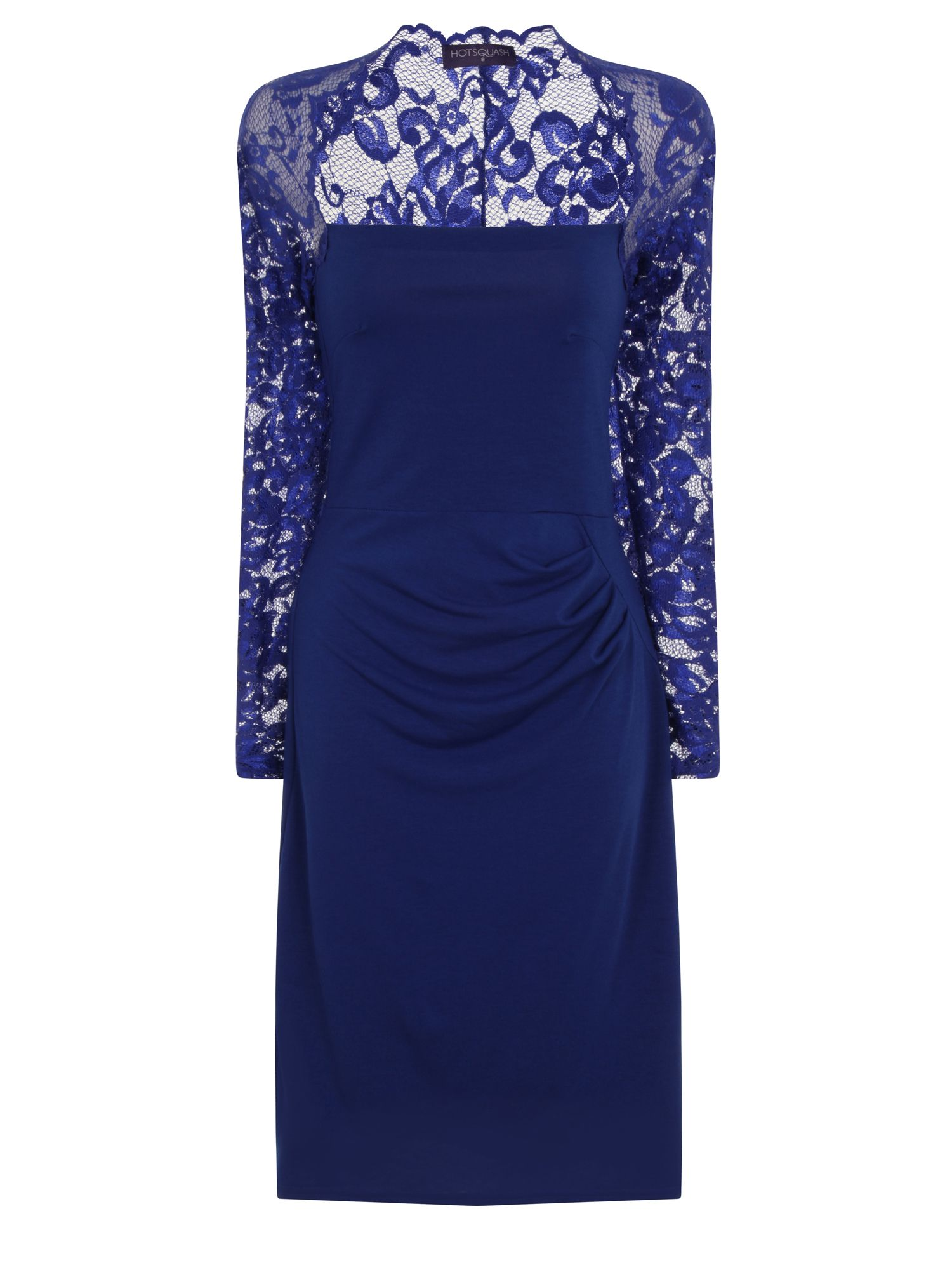 HotSquash Lace Sleeved Dress In Clever Fabric, Royal Blue Marl