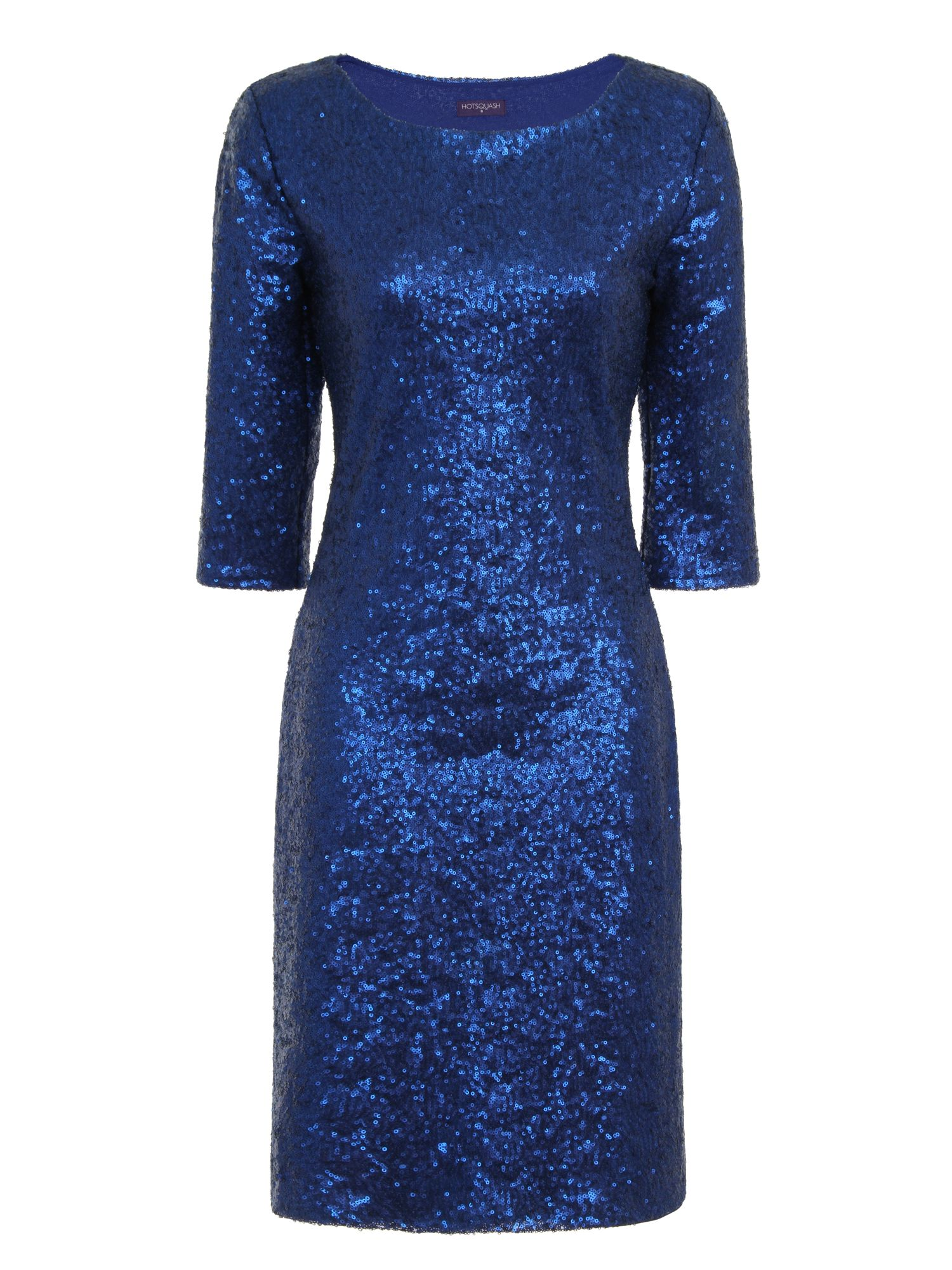 HotSquash Long Sleeved Dress With Sequin Trim, Bright Blue