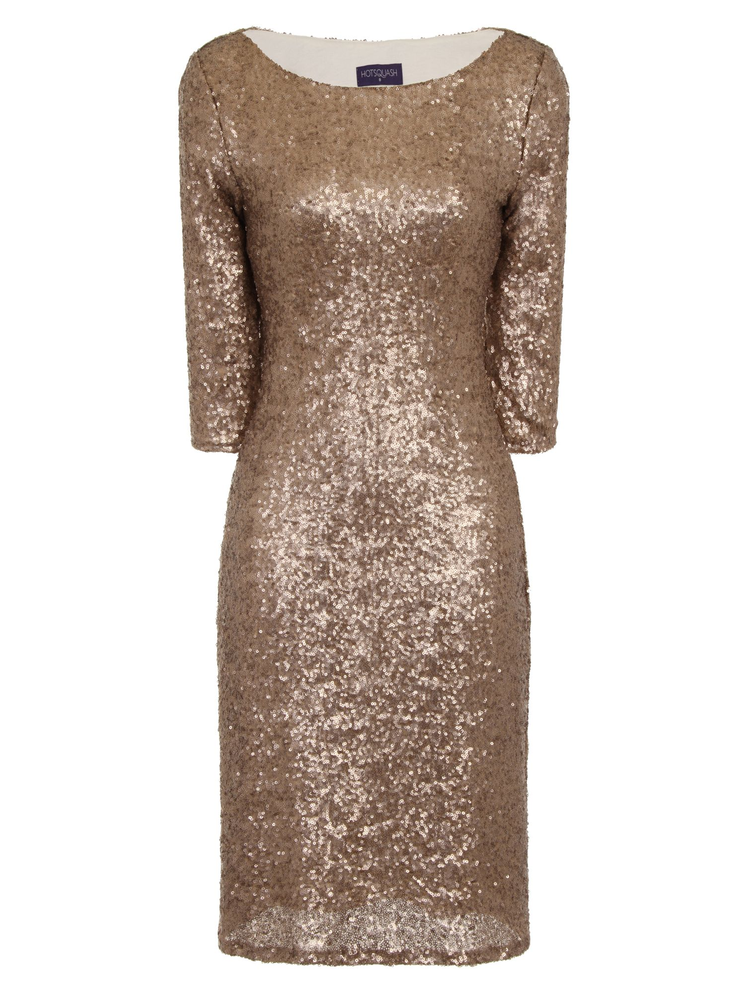 HotSquash Long Sleeved Dress With Sequin Trim, Gold Silverlic