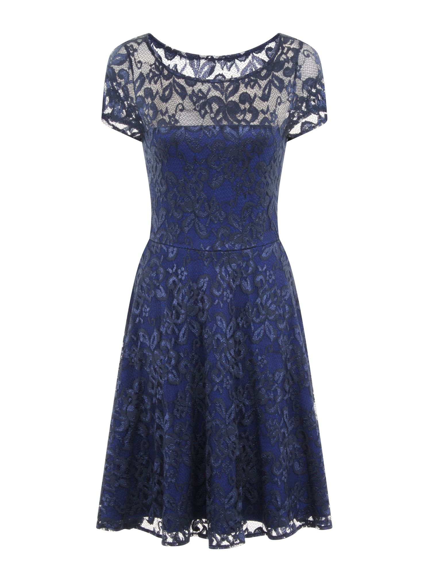 HotSquash Lace Fit n Flare Dress with Thermal Lini, Blue