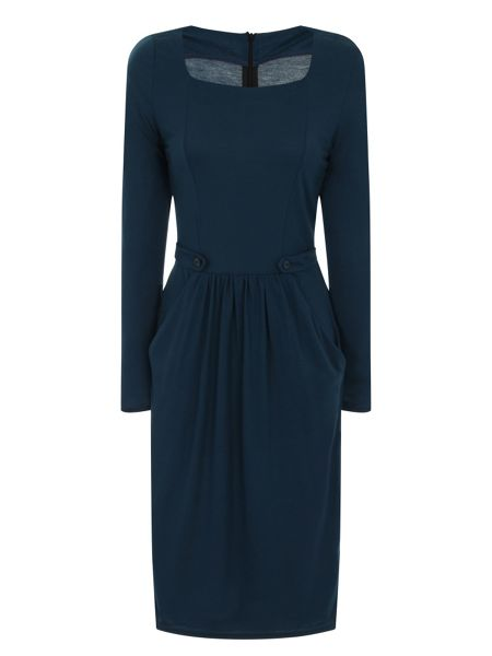 HotSquash Button Pinafore Dress in Clever Fabric