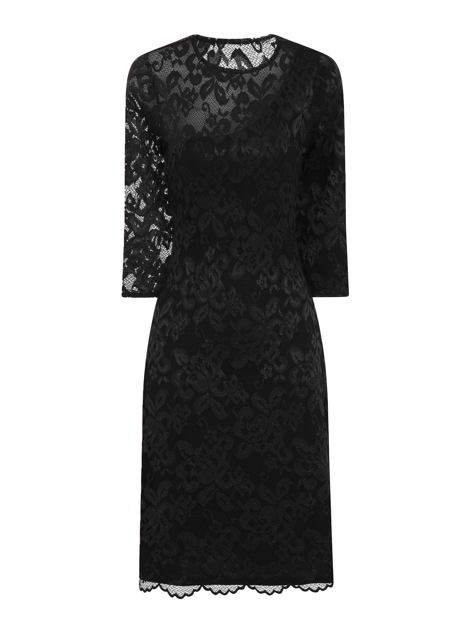 HotSquash One-Sleeved Lace Dress in Clever Fabric, Black