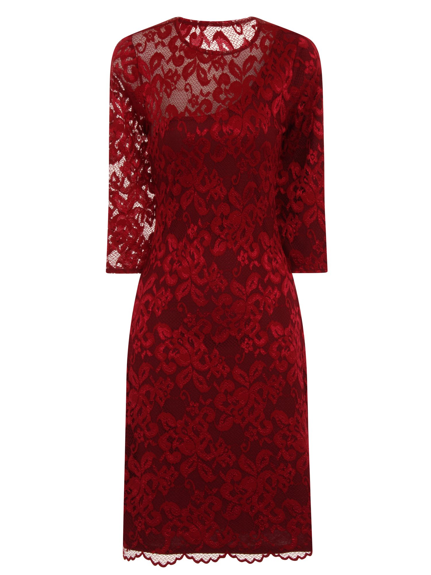 HotSquash One-Sleeved Lace Dress in Clever Fabric, Red