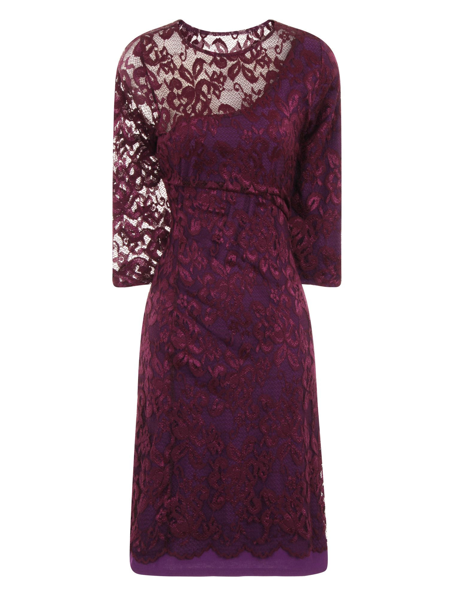 HotSquash One-Sleeved Lace Dress in Clever Fabric, Purple