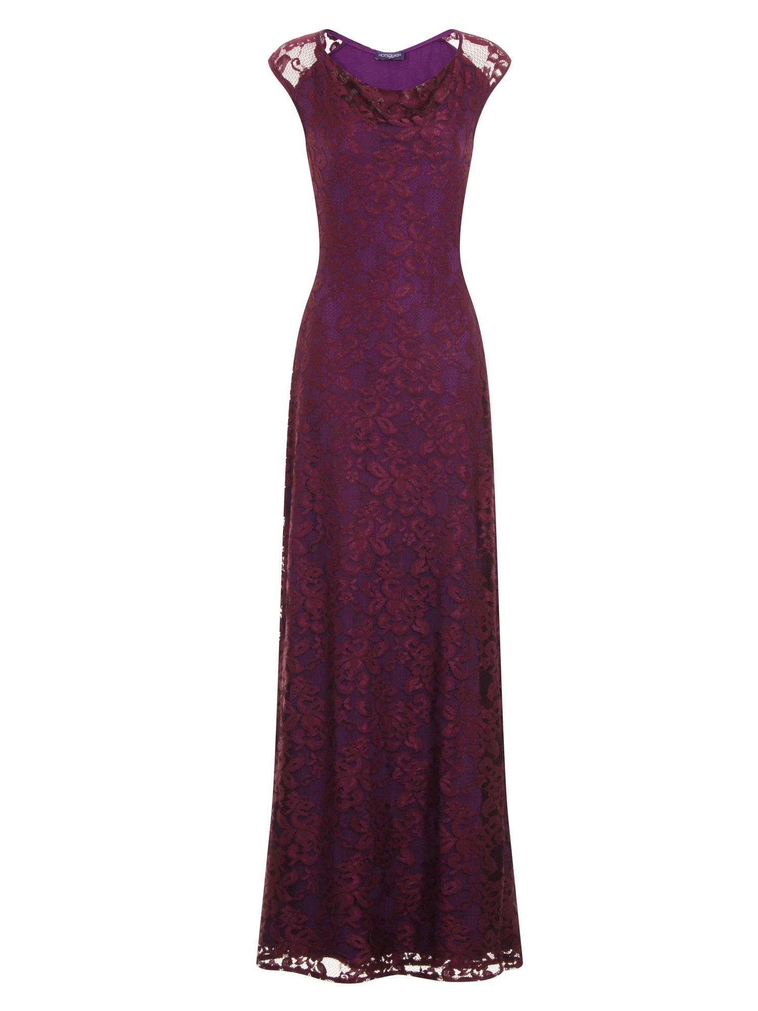 HotSquash Cowl Lace Maxi Dress in ThinHeat Fabric, Purple