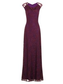 HotSquash Cowl Lace Maxi Dress in ThinHeat Fabric