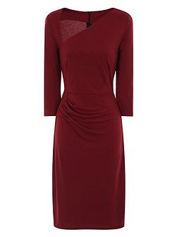 Asymmetric Neck Dress in Clever Fabric