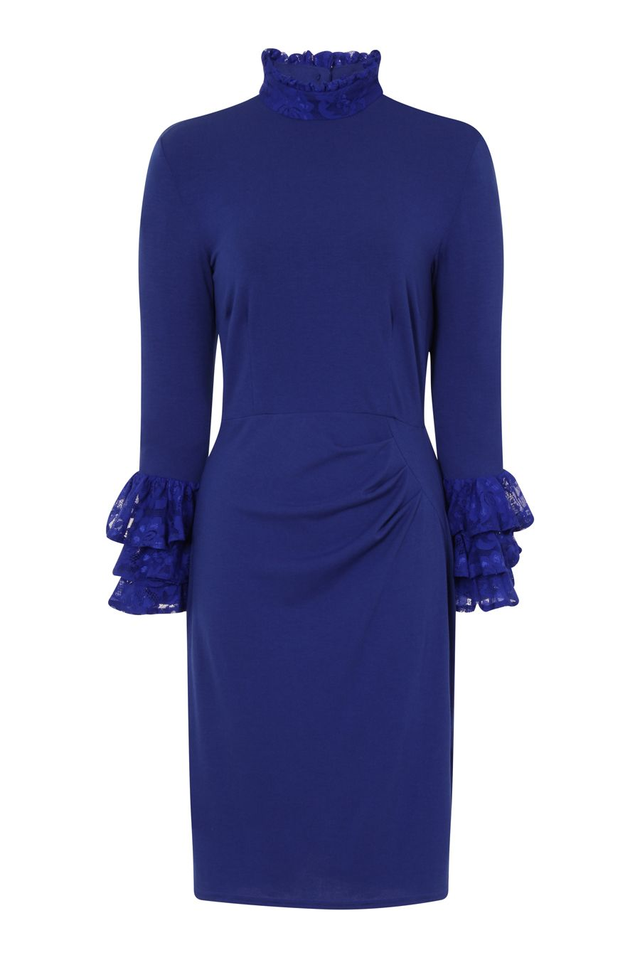 HotSquash Clever Fabric HighNeck Lace Detail Dress, Royal Blue