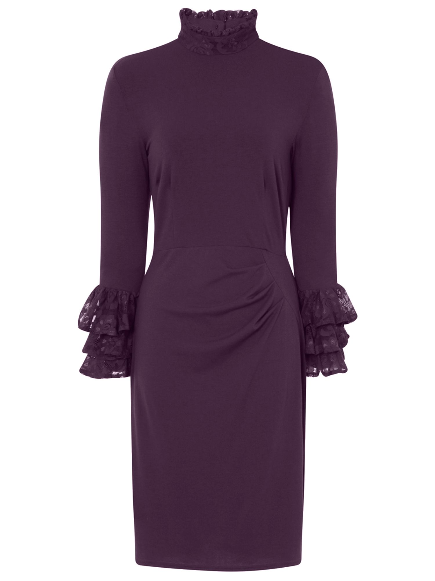 HotSquash Clever Fabric HighNeck Lace Detail Dress, Damson