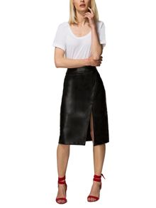 HotSquash Leather Look Wrap Skirt in Clever Fabric